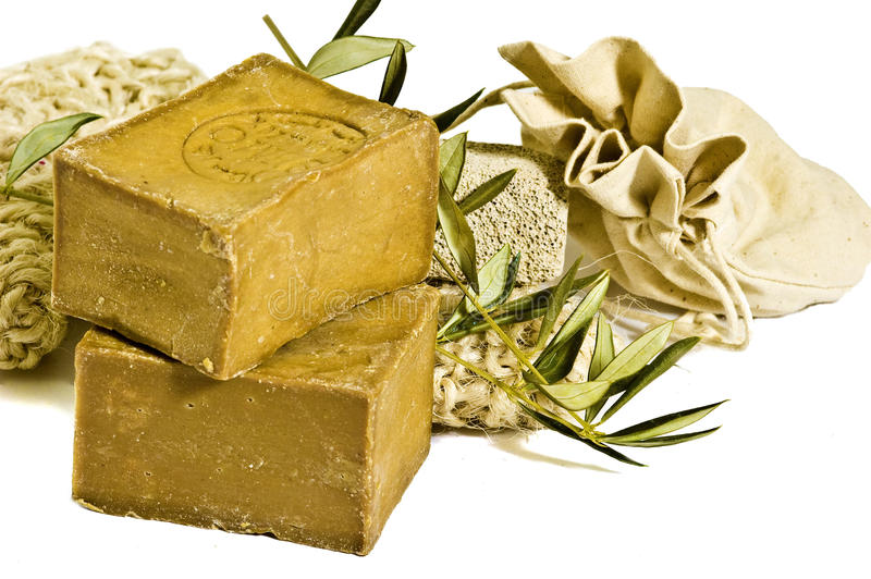 Two laurel soaps , isolated stock photo