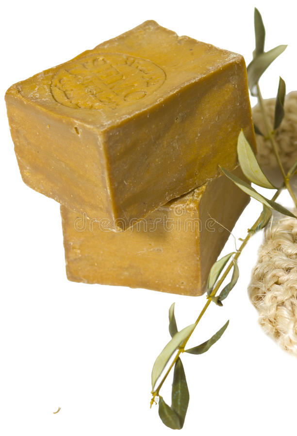 Two laurel soaps , isolated stock photography