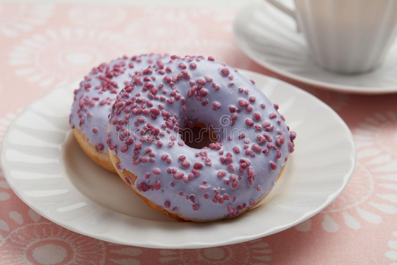 Lavender Donuts royalty free stock image