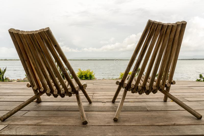 Two lazy chairs stock image