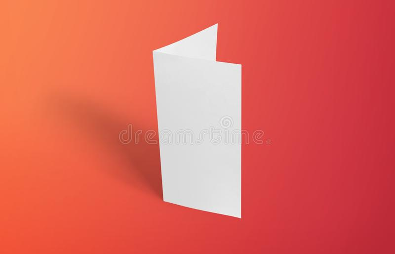 Two-leaf flyer mock-up template. Blank brochure white template paper on background. Two-leaf flyer mock-up template. Blank brochure white template paper on stock photo