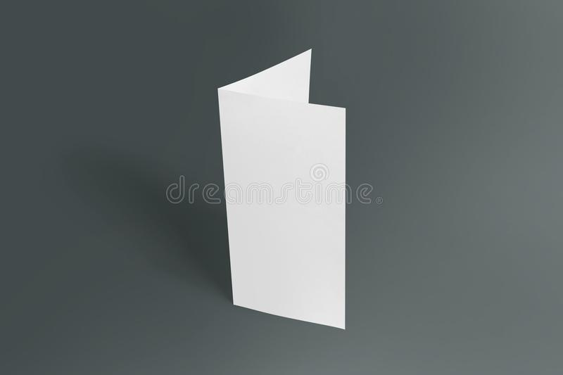 Two-leaf flyer mock-up template. Blank brochure white template paper on background. Two-leaf flyer mock-up template. Blank brochure white template paper on royalty free stock photo