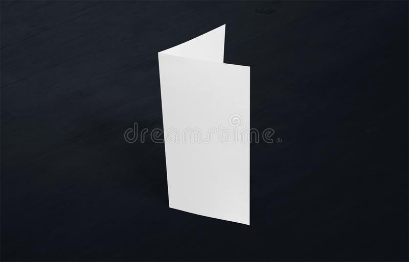 Two-leaf flyer mock-up template. Blank brochure white template paper on background. Two-leaf flyer mock-up template. Blank brochure white template paper on stock photography