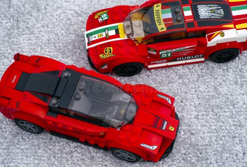 Two Lego cars LaFerrari and Ferrari 458 Italia GT2 by LEGO Speed Champions stock photo