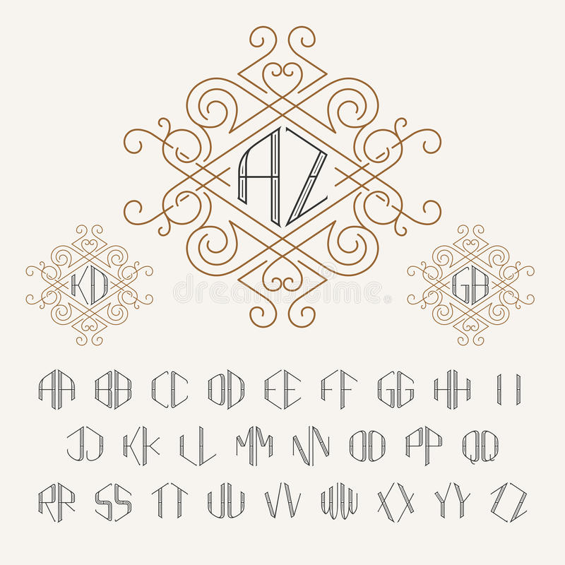 Two letters monogram template in outline style. Set of letters from A to Z. Luxury vector set of stylish elegant monograms stock illustration