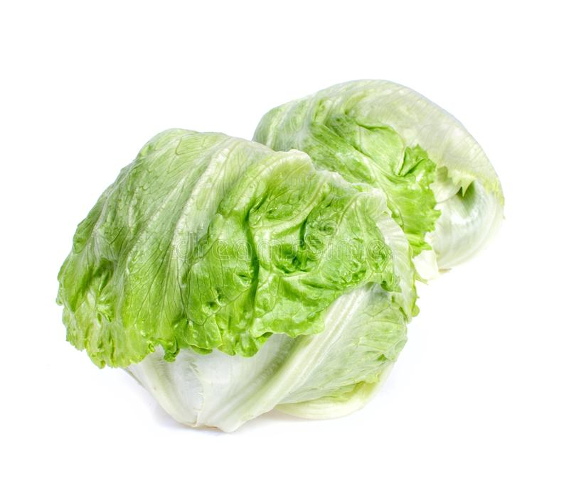 Two lettuce iceberg, isolated on white. Two fresh lettuce iceberg, isolated on white stock image