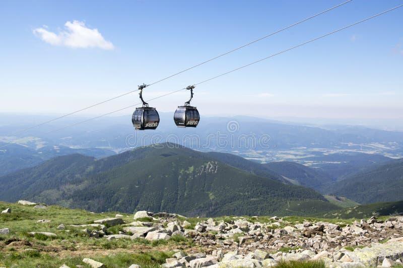 Two lift cabins, cableway to Chopok mount, Nizke Tatry, Low Tatras, Low Tatra mountains, Slovakia stock images