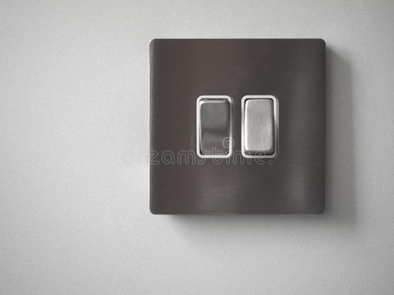 Two light switches stock image