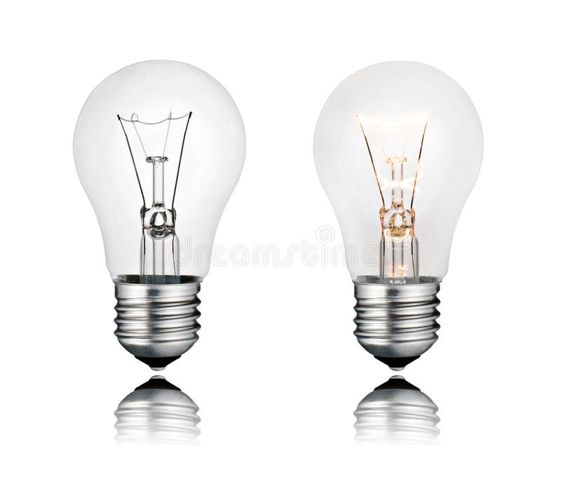 Download Two Lightbulbs On And Off With Reflection Isolated Stock Image - Image of innovation, imagination: 18282897