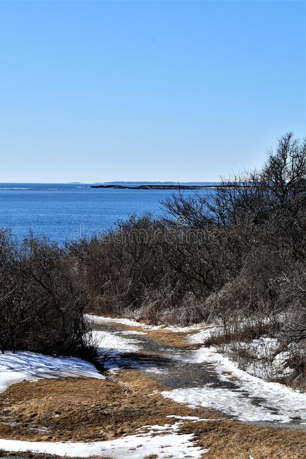 Two Lights State Park and surrounding ocean view on Cape Elizabeth, Cumberland County, Maine, ME, United States, US, New England. Cloudy winter landscape view of stock images