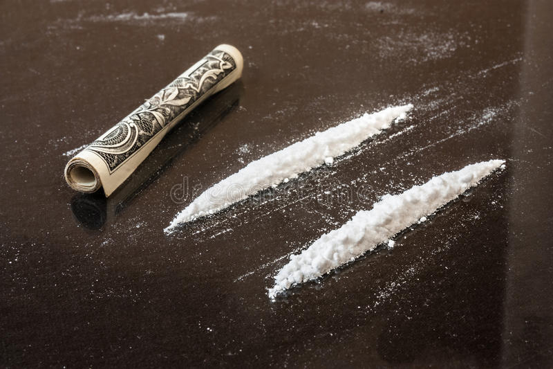 Two line of cocaine stock photos