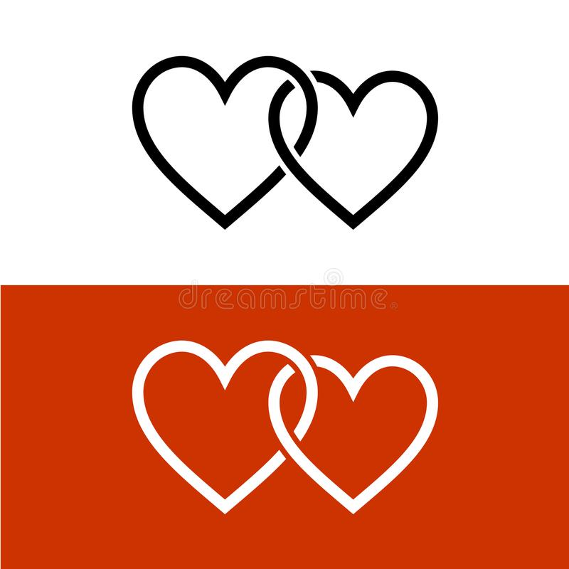 Two line style hearts together linked love symbol. royalty free illustration
