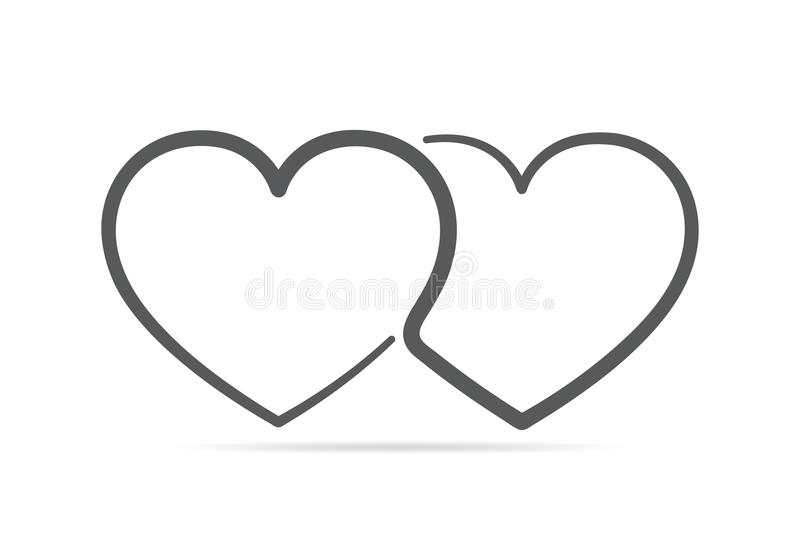 Two linear hearts connected among themselves. Vector illustration. The hearts as a symbol of love royalty free illustration