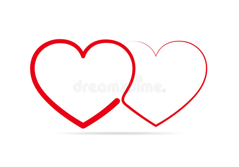 Two linear hearts connected among themselves. Vector illustration. Red hearts as a symbol of love stock illustration