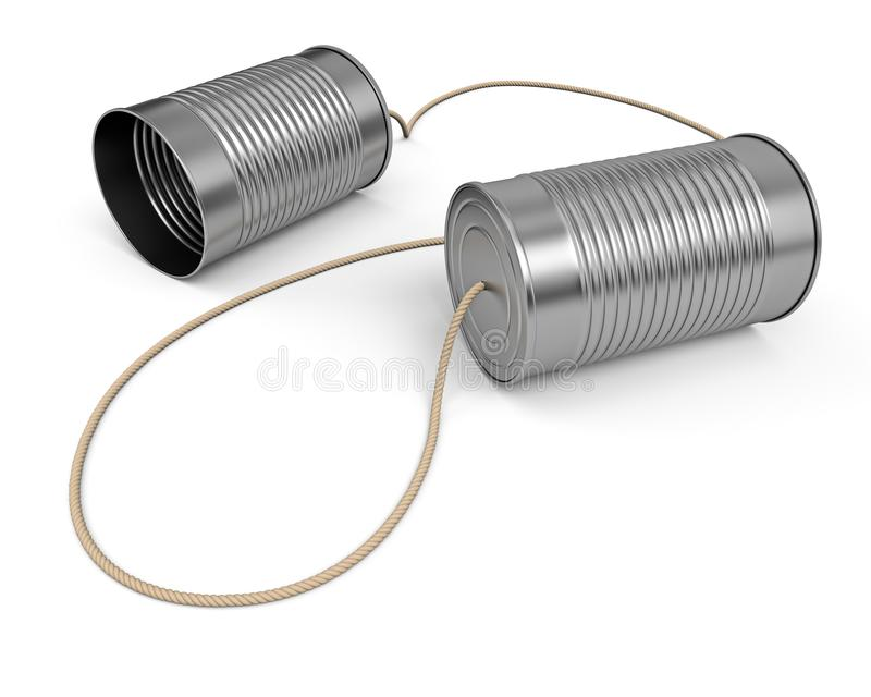 Two linked tin cans communication concept. vector illustration