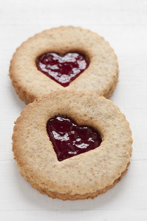Free Two Linzer Cookies With Heart Shape Raspberry Jam Royalty Free Stock Photo - 13280405