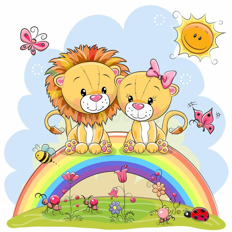 Free Two Lions Are Sitting On The Rainbow Royalty Free Stock Image - 106208916