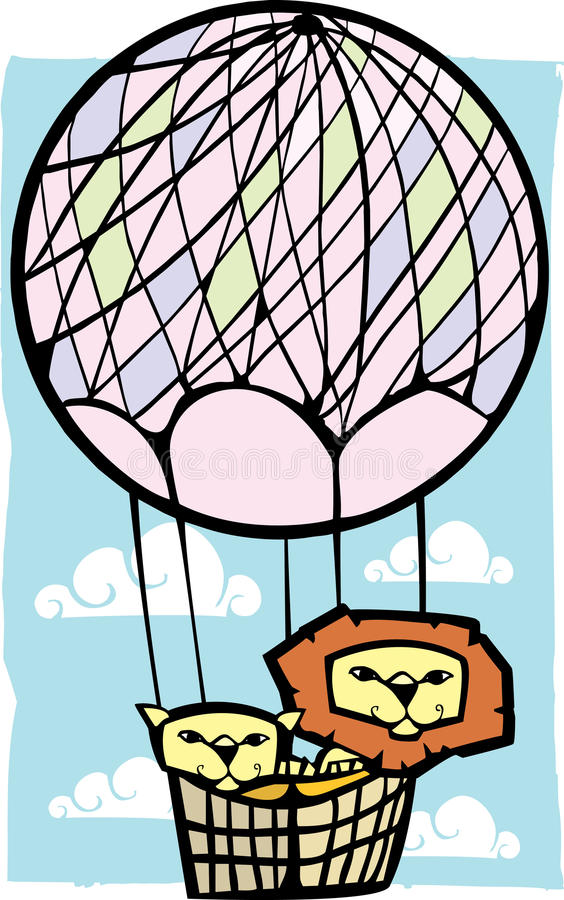 Download Two Lions in a Balloon stock vector. Image of story, retro - 16400275
