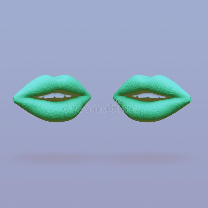 Two lips face each other abstract minimalist art royalty free illustration