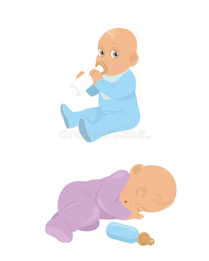 Two little babies. Vector illustration of a two little babies royalty free illustration