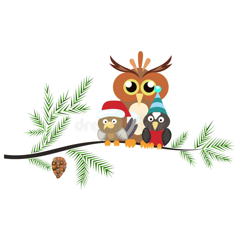 Two little birds and a large owl sitting on a branch. The branch royalty free illustration