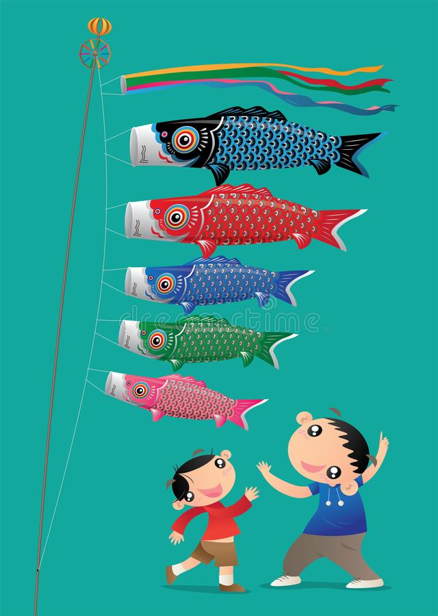 Two little boys celebrating Japanese Children`s Day festival with his carp steamers royalty free illustration