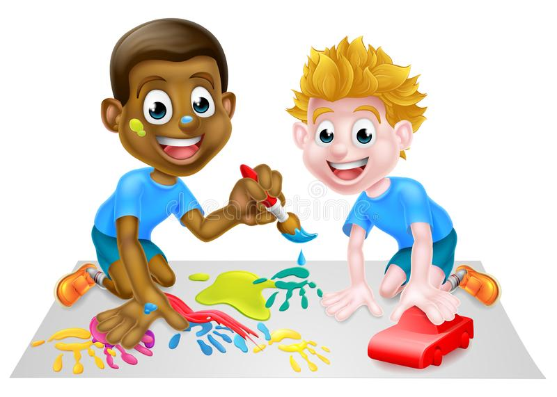 Boys Playing. Two little boys, one black and one white, having fun playing with paints and building blocks vector illustration