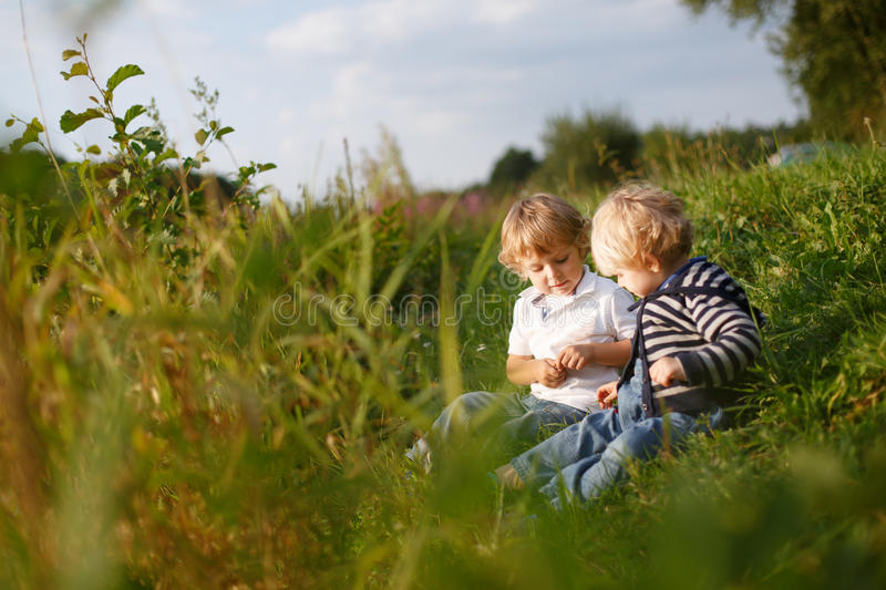 Two little brother boys playing near forest lake on summer evening royalty free stock photo