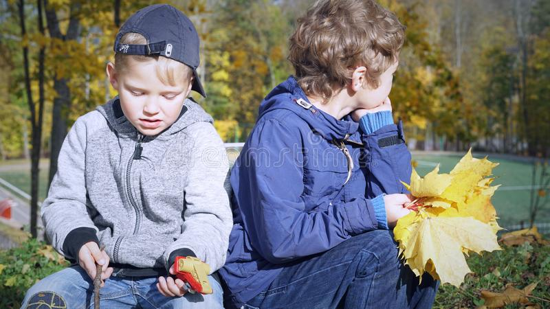 Little Caucasian boys sitting with bouquet of yellow leaves and plastic toy on the stump in autumn park, outdoors royalty free stock images