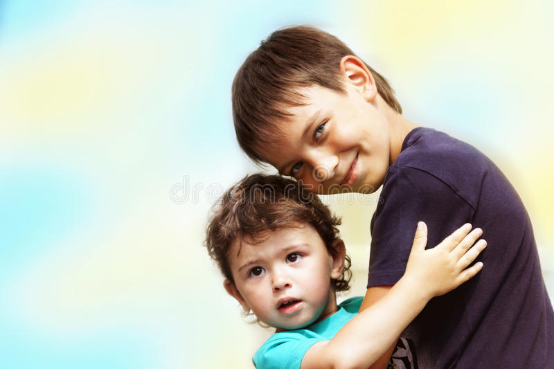 Two little children stock images