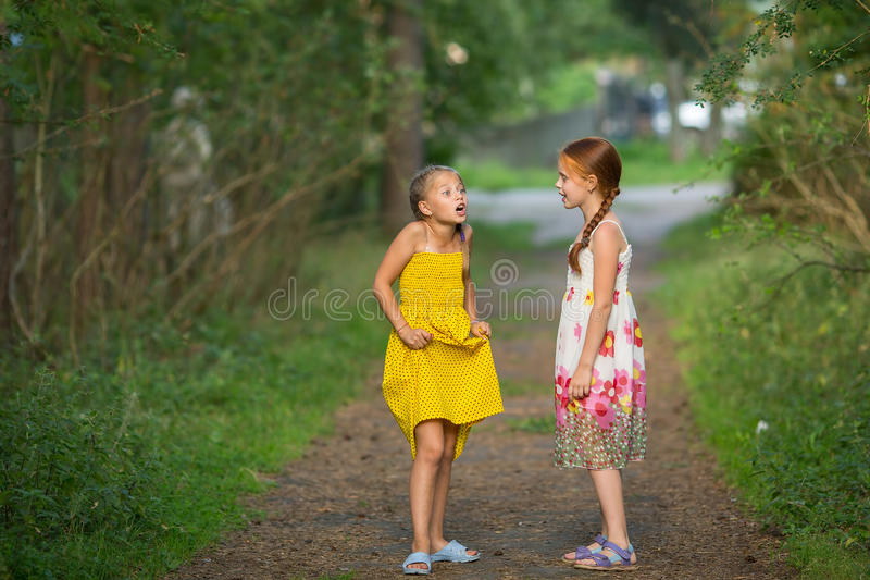 Two little cute girlfriends animatedly talking stock image