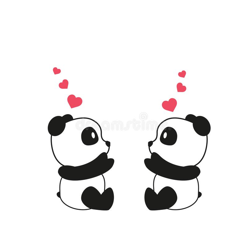 Two little cute pandas with pink watercolor hearts. Greeting card for Valentine s Day, Mother s Day, Father s Day, birthday, weddi stock illustration