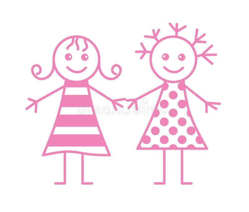 Download Two little girls stock vector. Image of banner, butterflies - 12766192