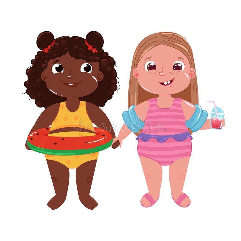 Two little girls on the beach. Hello summer. Friends fun game and holiday at sea royalty free illustration