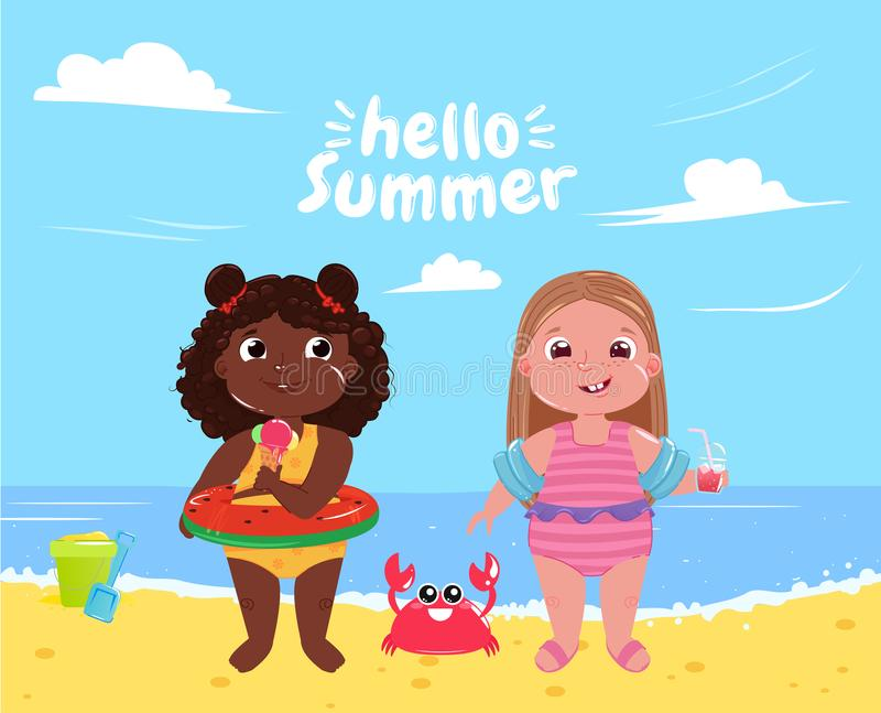 Two little girls on the beach. Hello summer. Friends fun game and holiday at sea stock illustration