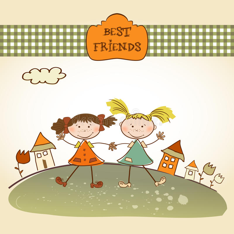 Download Two Little Girls Best Friends Stock Vector - Illustration of greetings, childish: 18963503