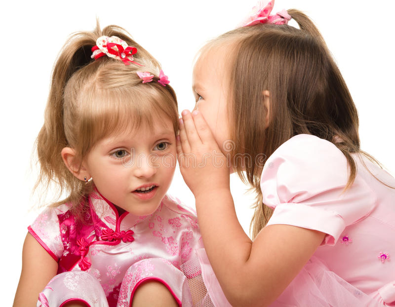 Two Little Girls Are Chatting Royalty Free Stock Image
