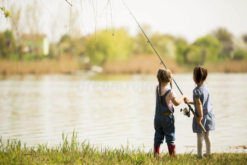 Two little girls fishing stock photo