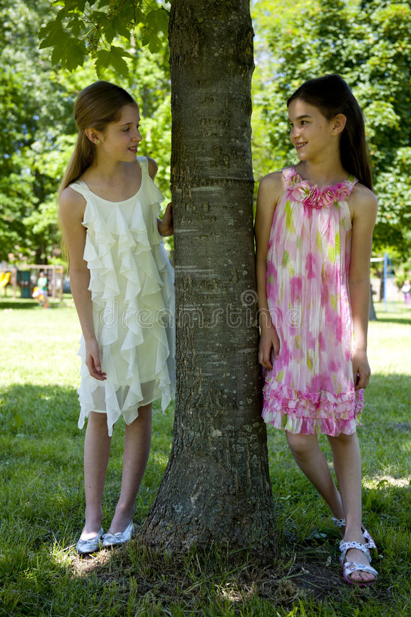 Two Little Girls In The Park Royalty Free Stock Photography