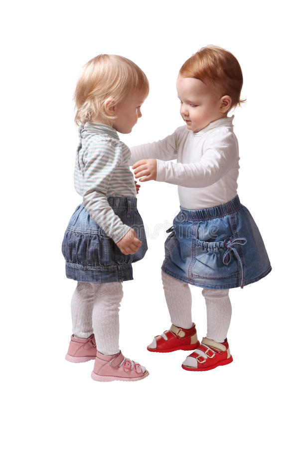 Two Little Girls Twin Sister Stock Photos