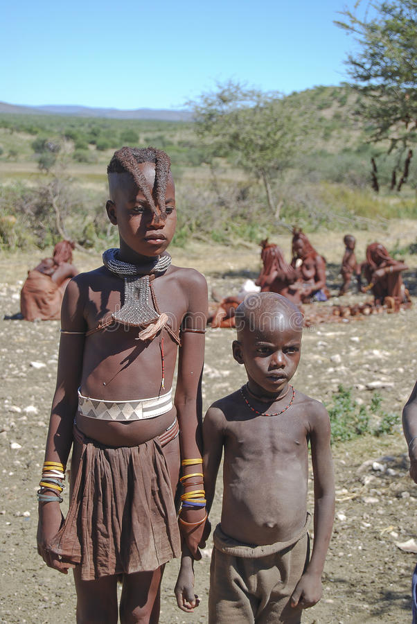 Two little himba boys stock image