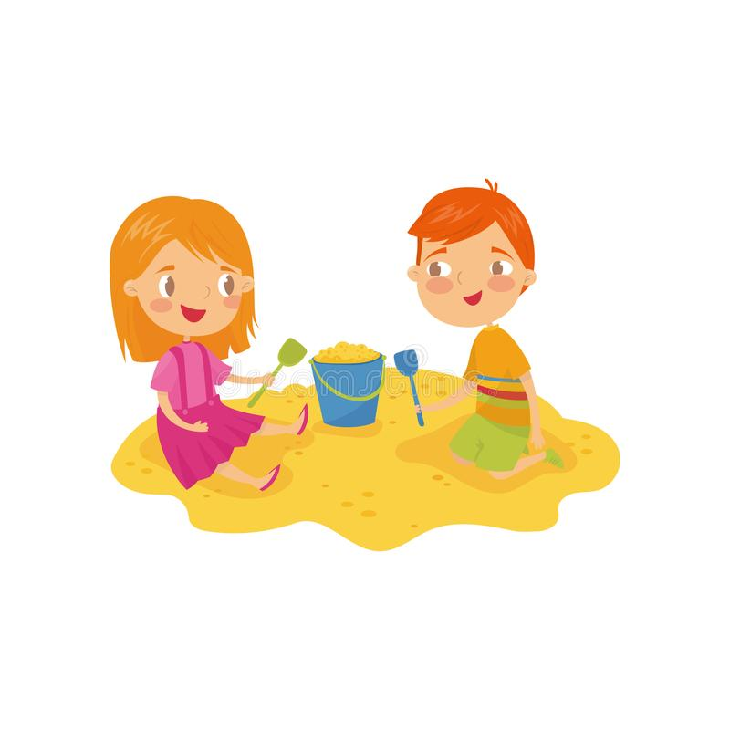 Two little kids, boy and girl playing in sandbox. Children s daily activity. Cartoon characters of brother and sister. Outdoor game in kindergarten. Colorful stock illustration