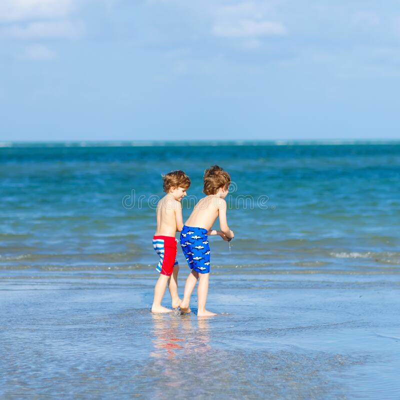 Two little kids boys having fun on tropical beach, happy best friends playing, friendship concept. Siblings brothers royalty free stock image