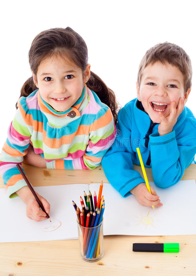 Download Two Little Kids Draw With Crayons Stock Image - Image: 23028535