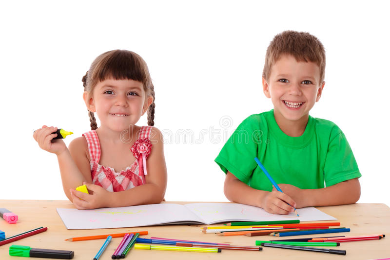 Download Two Little Kids Draw With Crayons Stock Photo - Image: 25991542