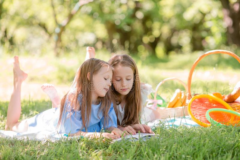 Two little kids on picnic in the park royalty free stock images
