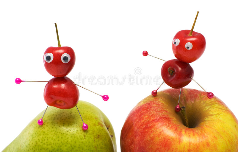 Two little men. Made of a sweet cherry stock photo