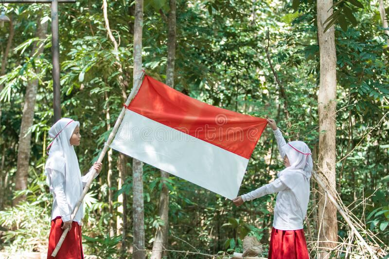 Two little Muslim girls wearing headscarves holding red and white flag and another girl stretching a flag royalty free stock image