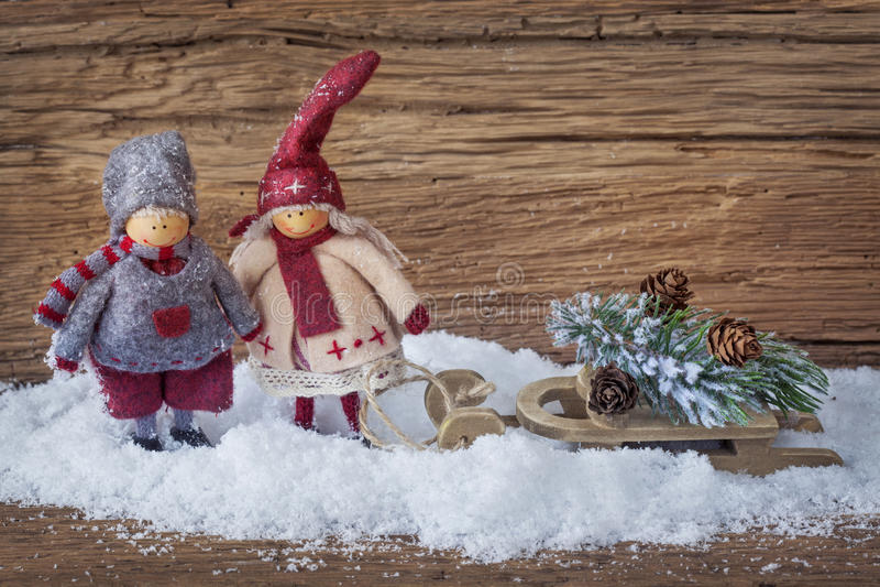 Download Two Little Santa Decoration Stock Photo - Image of season, horizontal: 27041120