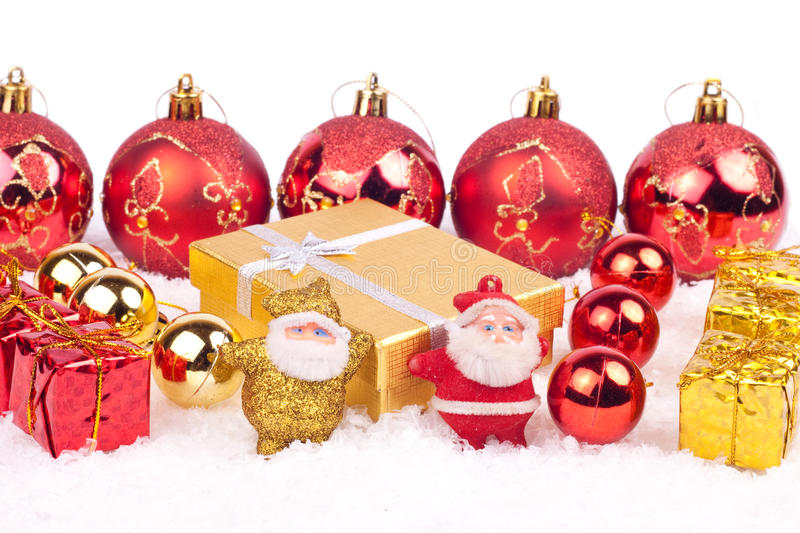 Download Two Little Santa Toys On Snow Stock Image - Image: 12201499